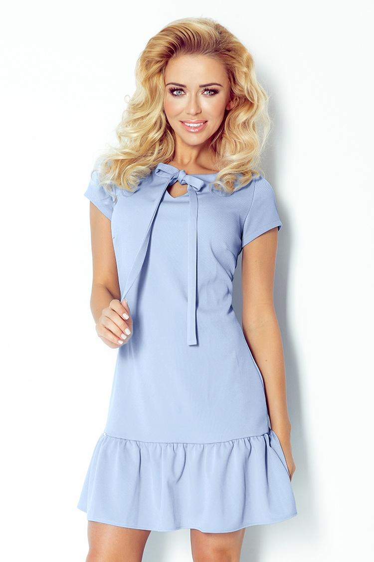 101-1 šaty s golierom a mašľou - modrá