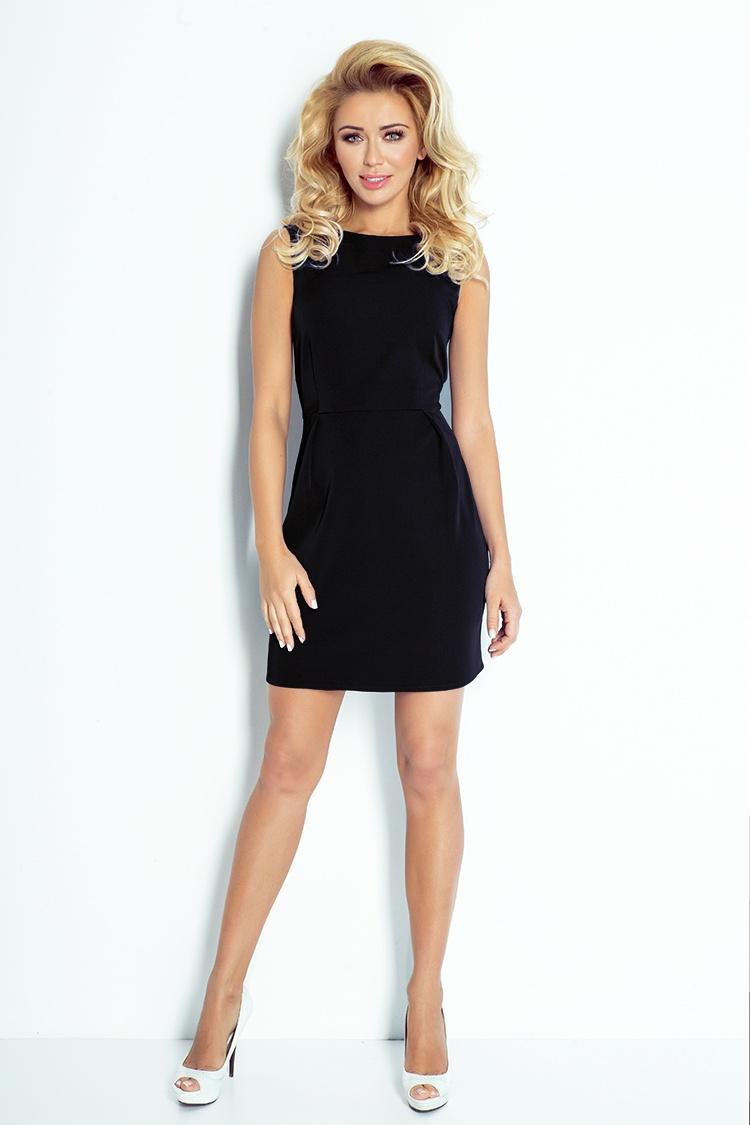 103-3 CLASSIC šaty s záhybov v páse - čierna