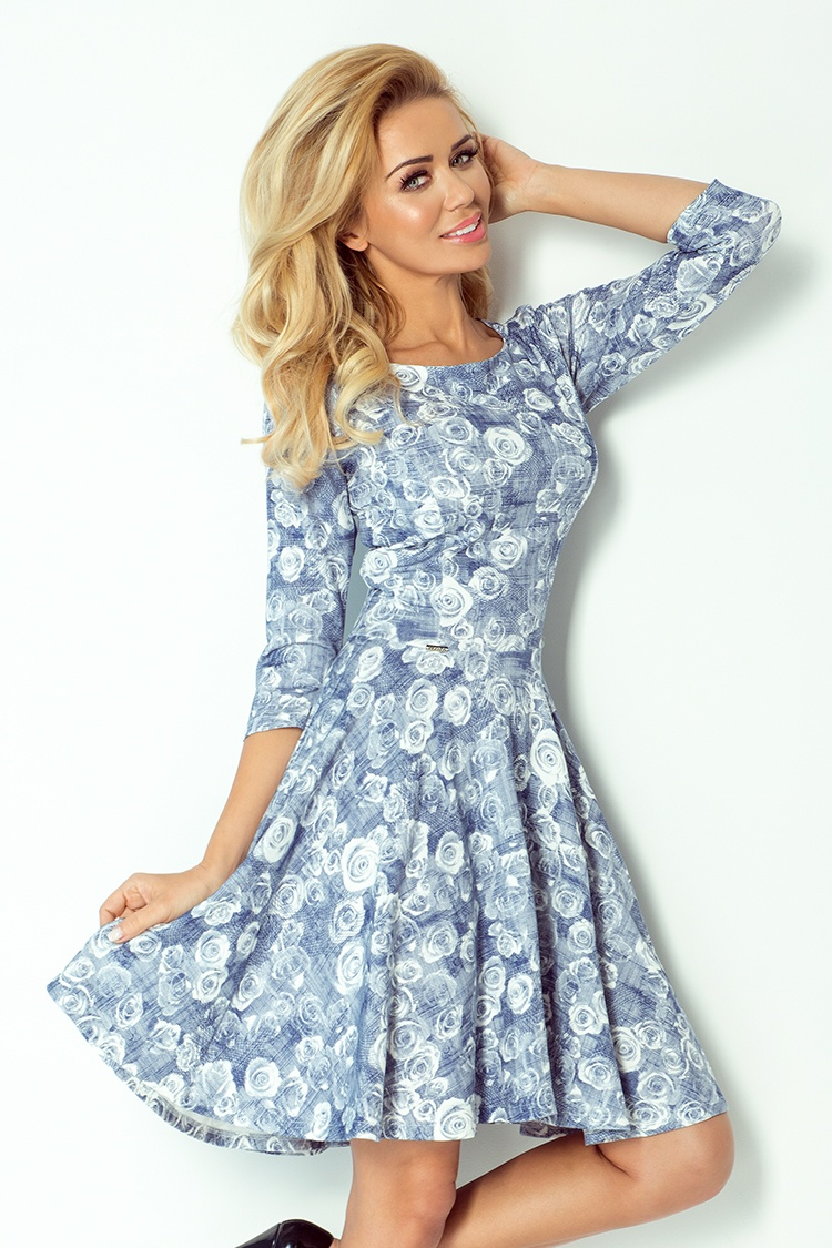 105-1 KOLO šaty s 3/4 rukávom - modré kvety