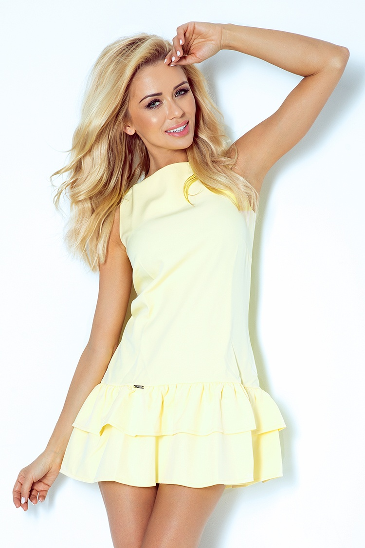 113-1 šaty s volánikmi - Marciano - svetlo žltá