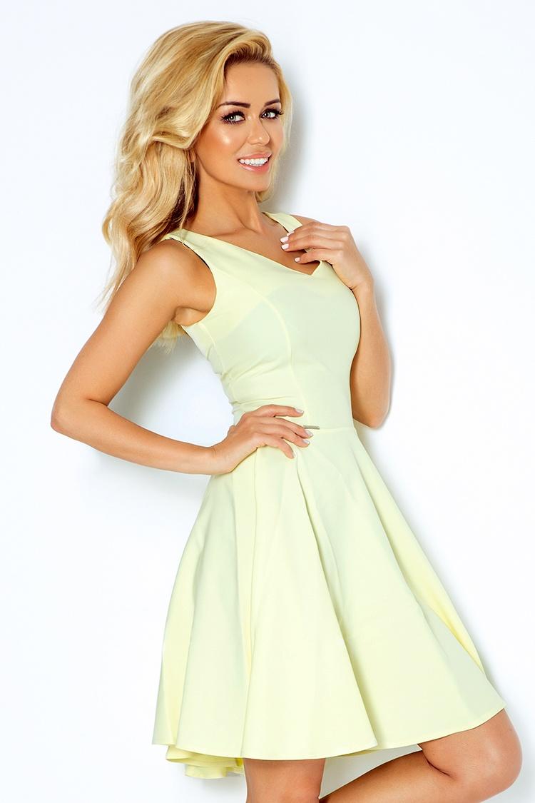 114-2 šaty s kolieskami - výstrihom v tvare srdca - citrón