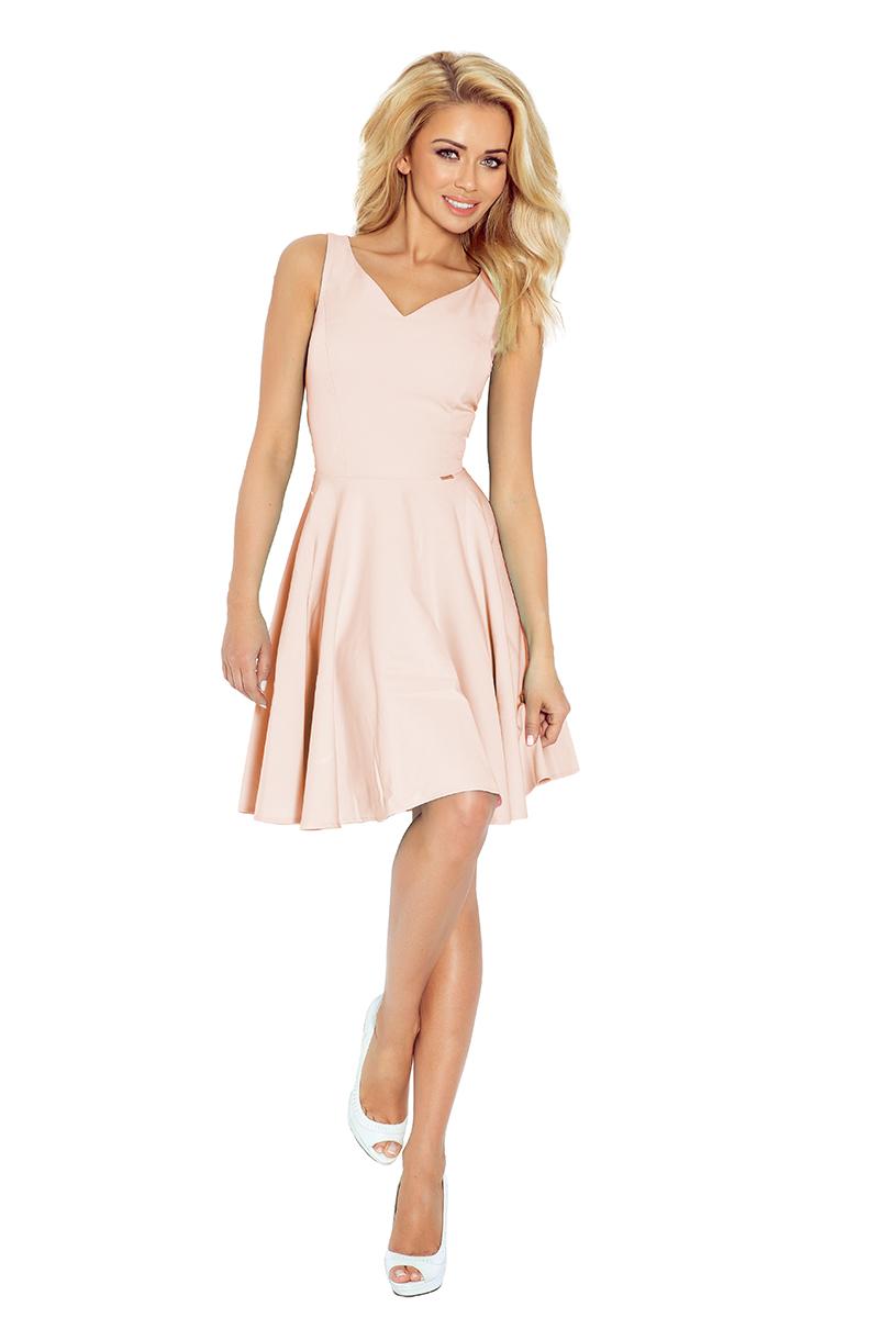 5c85984204 114-8 Sukienka z koła - dekolt w kształcie serca - bardzo JASNY RÓŻ ...