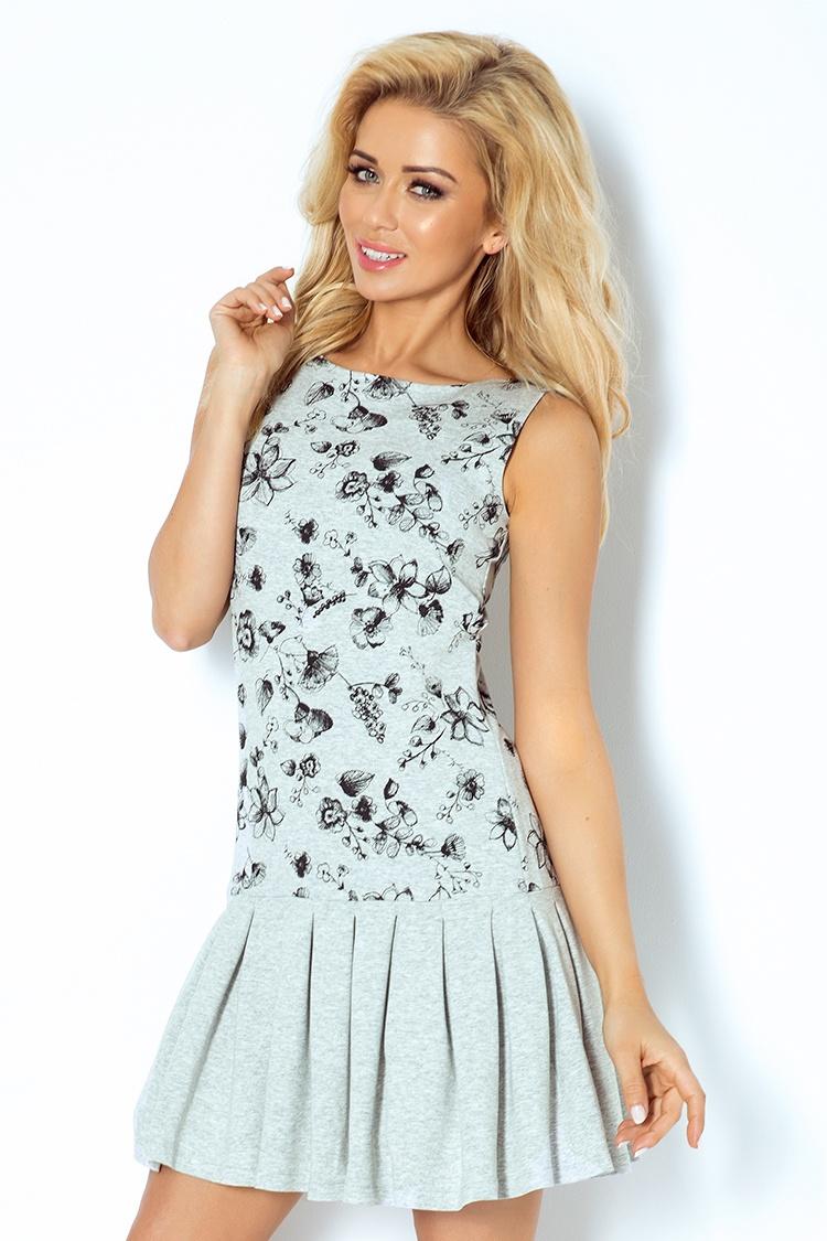 117-1 šaty s skladaná sukňa - šedá, kvety načrtnuté