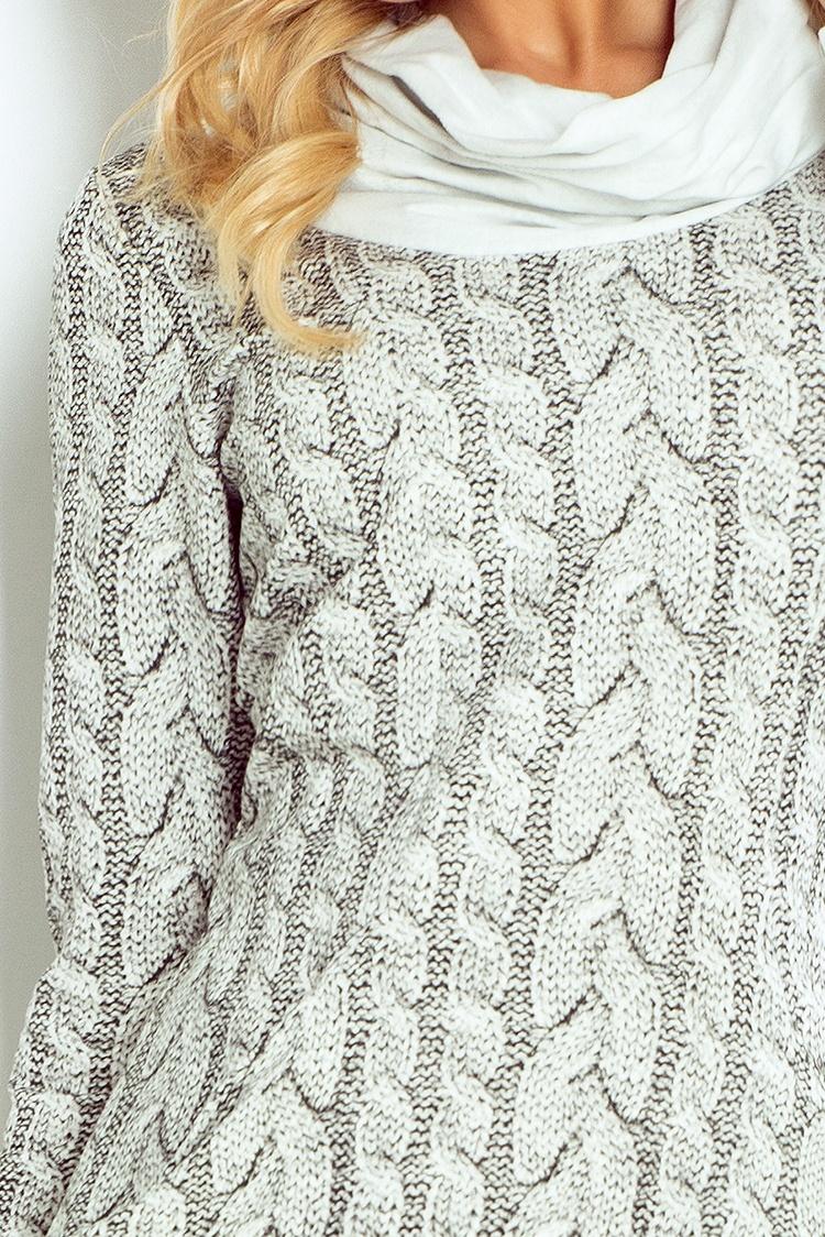 119-1 Golf - šaty s veľkými vreckami - hrubý vzor WARKOCZ