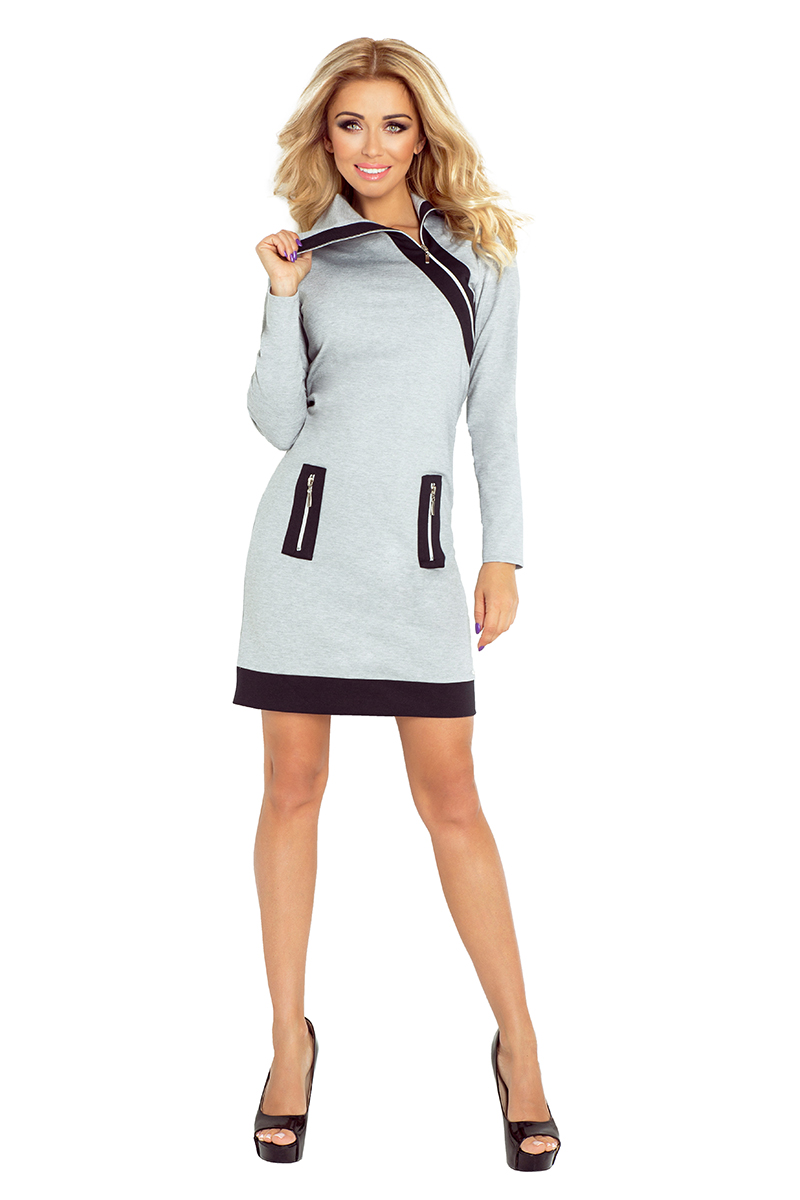 6b5a3a1fd9 129-1 JUSTYNA sukienka z trzema zamkami - SZARA + czarne zamki    numoco