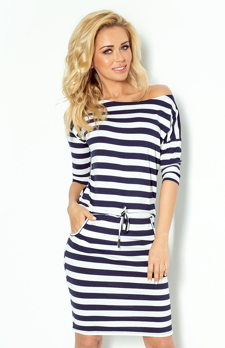 13-46 Dress Sport - veľké hrubé prúžky 2x2 cm námornícka modrá
