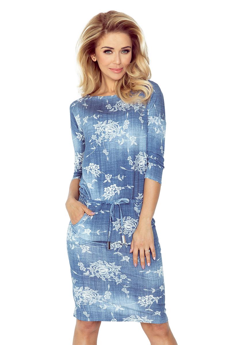 13-56 Dress Sport - z viskózy - Tieniaci BLUE JEANS - malé kvety
