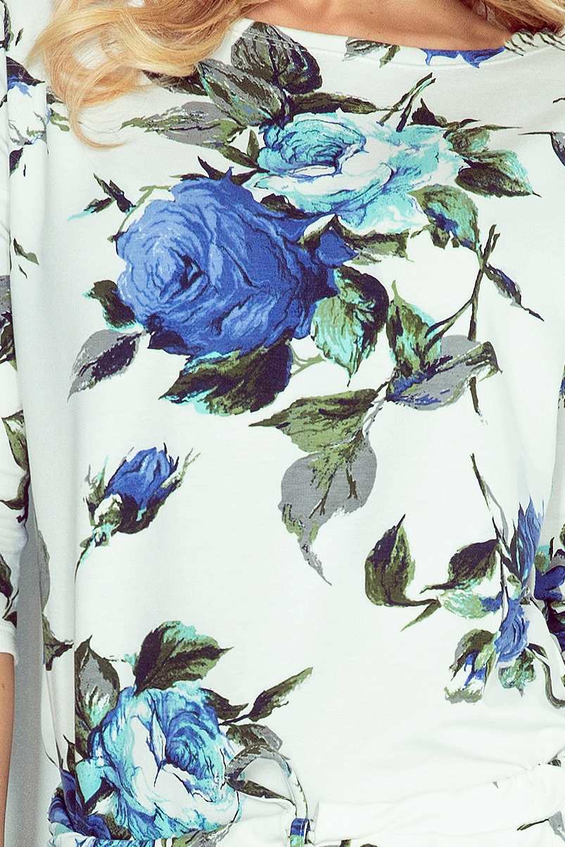 13-65 Dress Sport - béžová + veľké farebné kvety nevädze
