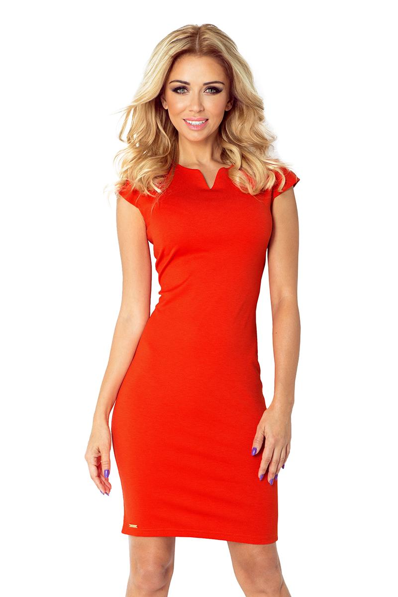 132-4 hubica je otočený šaty - oranžová