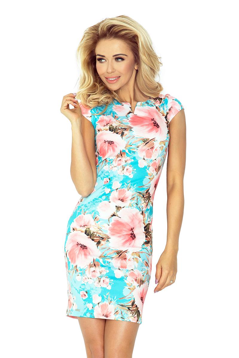 132-8 hubica je otočený šaty - Peach kvety na tyrkysové pozadí