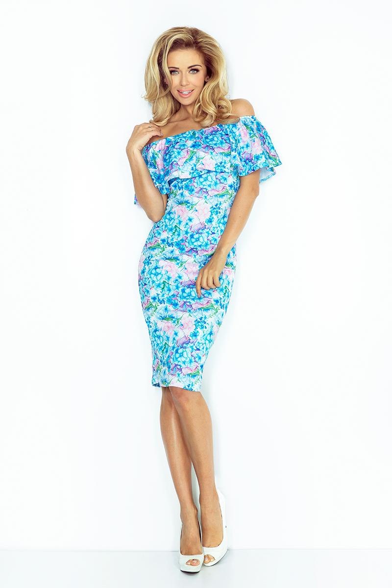 edf533cd68 138-5 Sukienka hiszpanka - NIEBIESKIE DROBNE KWIATY    numoco
