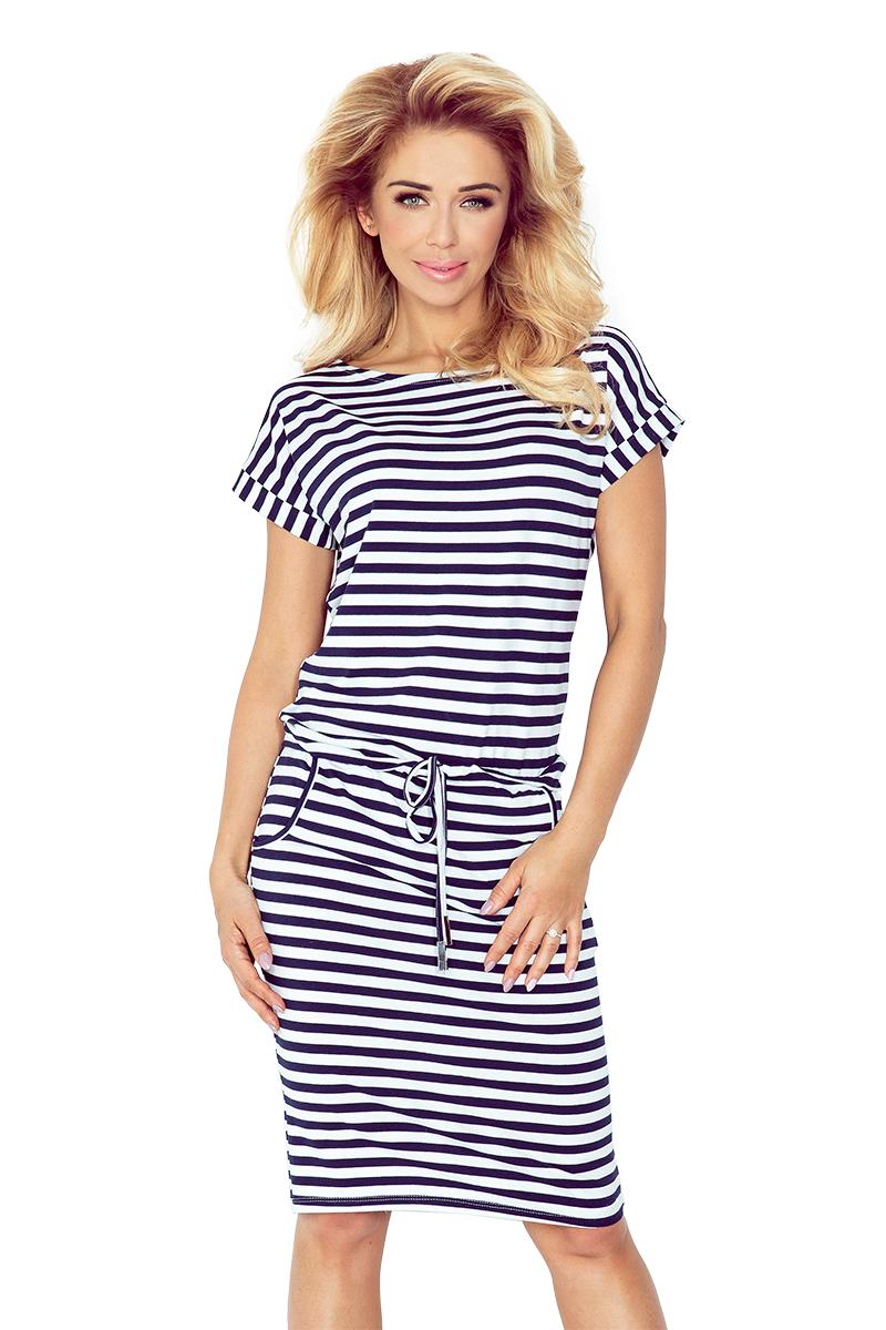 139-2 športové šaty s krátkym rukávom - pásy modrobiele 1 x 1 cm