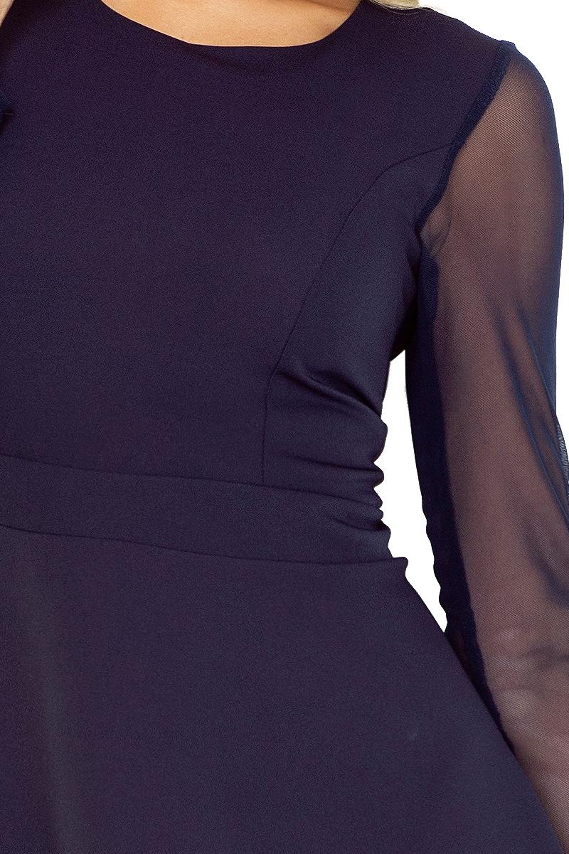 141 až 1 TIULOWYMI šaty s rukávmi - BLUE