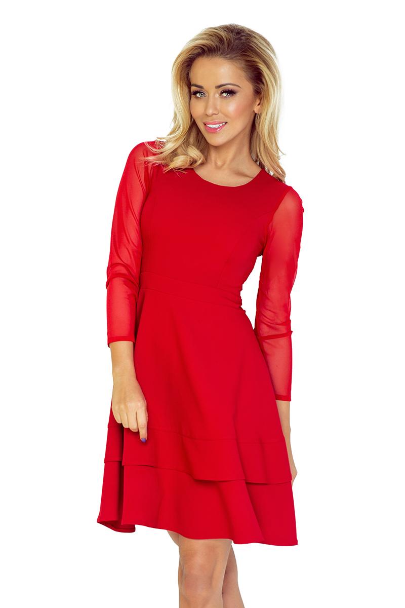 141-2 TIULOWYMI šaty s rukávmi - RED