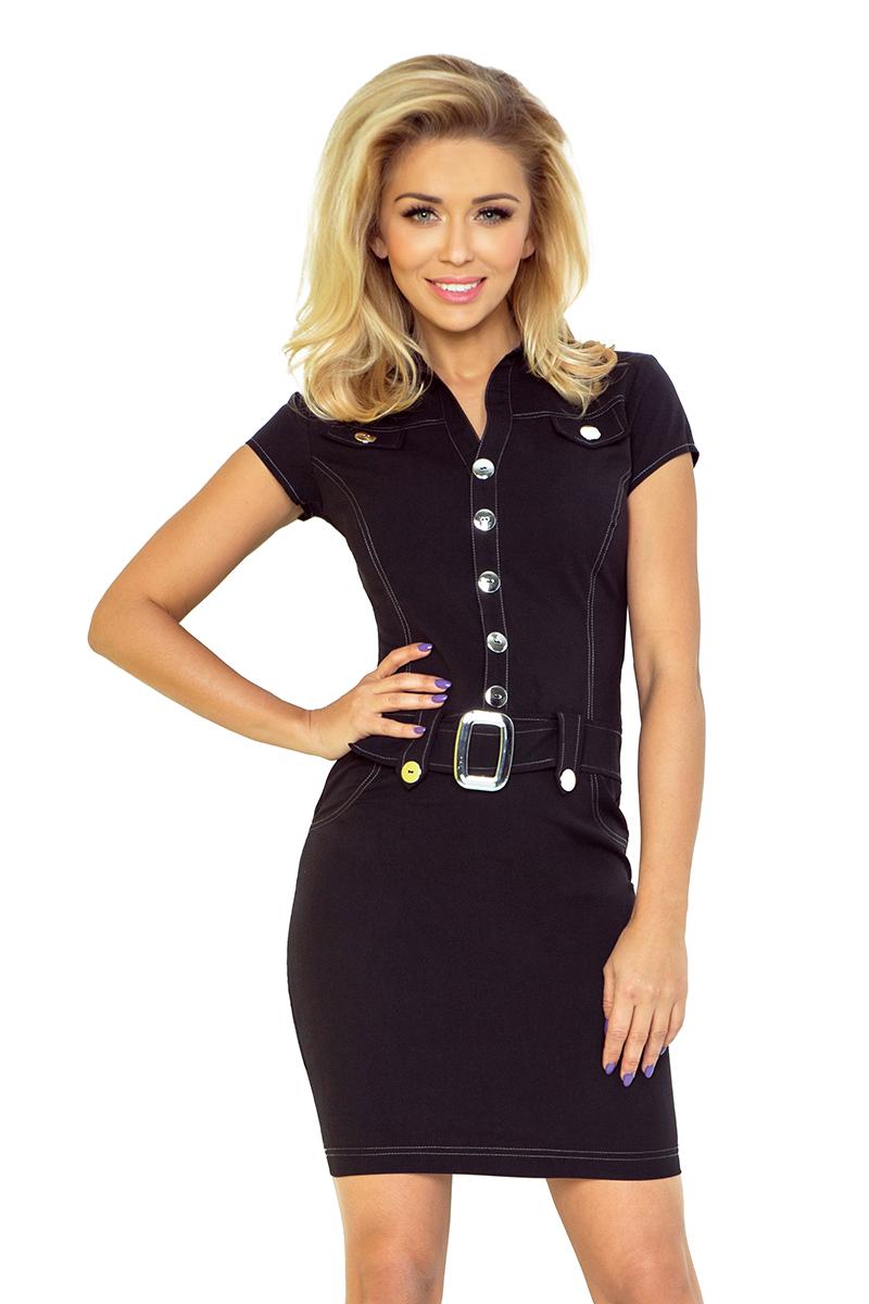 142-1 szmizjerka šaty s gombíkmi - BLACK