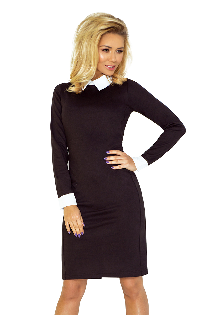 143-1 šaty s stojací golier biela - čierna
