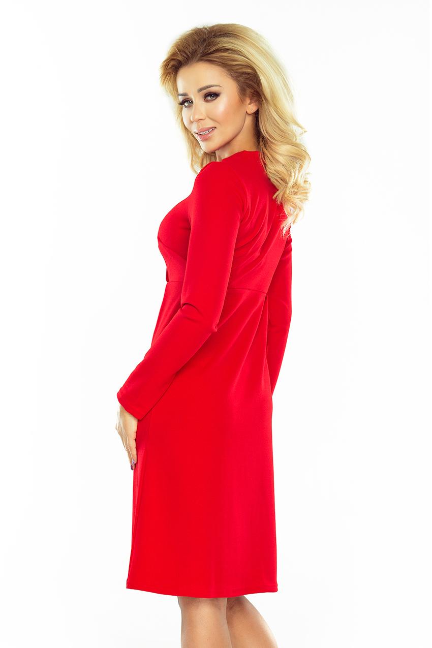 13ac8d8d24 158-2 OLA sukienka trapezowa z wiązaniem pod szyją - CZERWONA    numoco