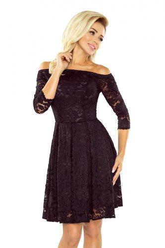 8a81130b4d 168-1 Sukienka z odkrytymi ramionami - kontrafałda - KORONKA CZARNA