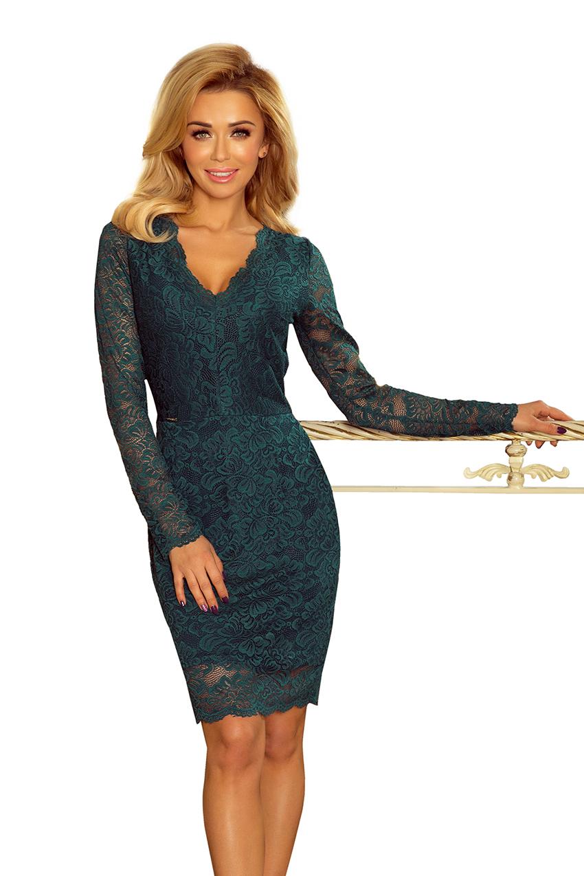 170-3 Sukienka koronkowa z długim rękawkiem i DEKOLTEM - ZIELONA :: numoco
