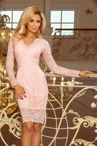 59365650fe ... 170-4 Sukienka koronkowa z długim rękawkiem i DEKOLTEM - PASTELOWY RÓŻ  ...