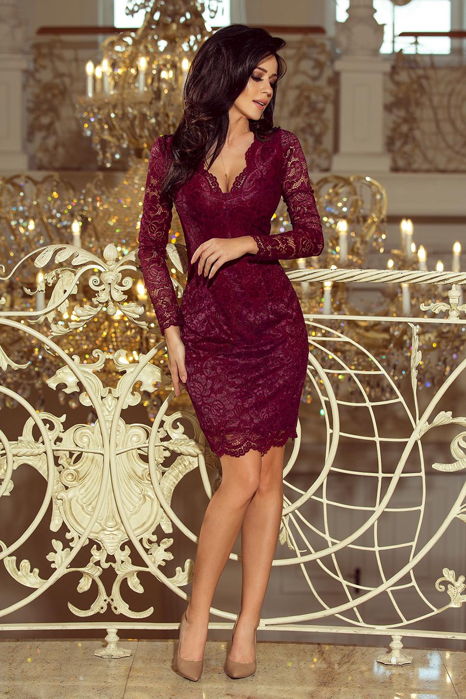 30a5d44367 170-5 Sukienka koronkowa z długim rękawkiem i DEKOLTEM - BORDOWA ...