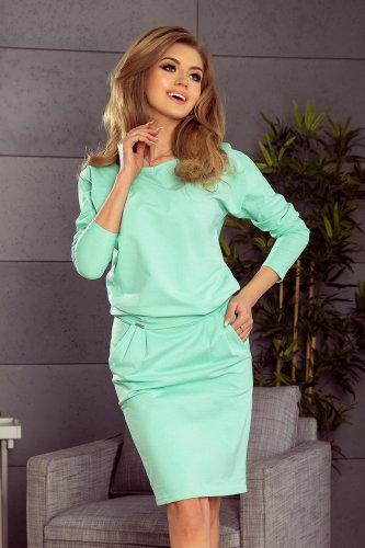 1f8ac1340df40d Hurtownia internetowa odzieży damskiej. 189-1 Sukienka dresowa z dekoltem  na plecach - MIĘTOWA