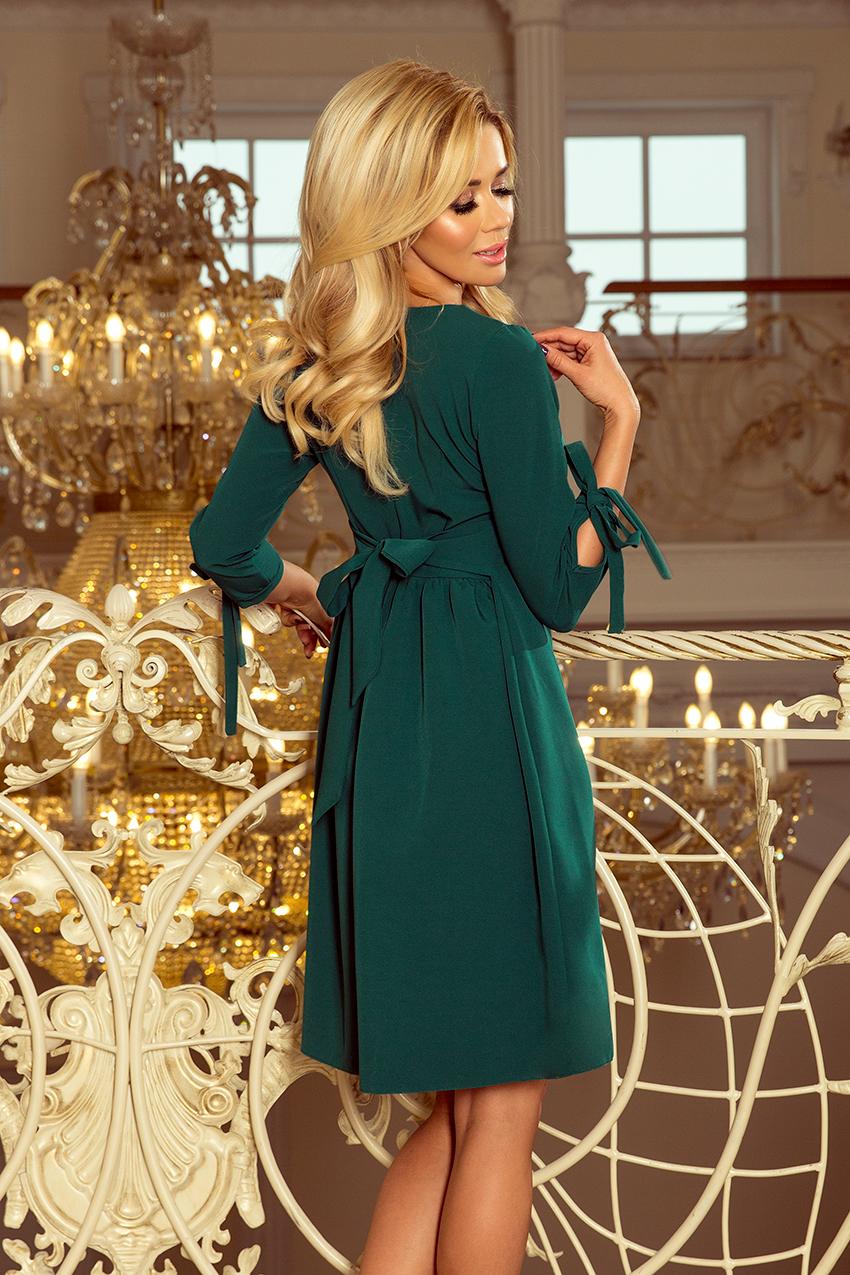 62f6f826d2 195-1 ALICE Sukienka z kokardkami - ZIELONA    numoco