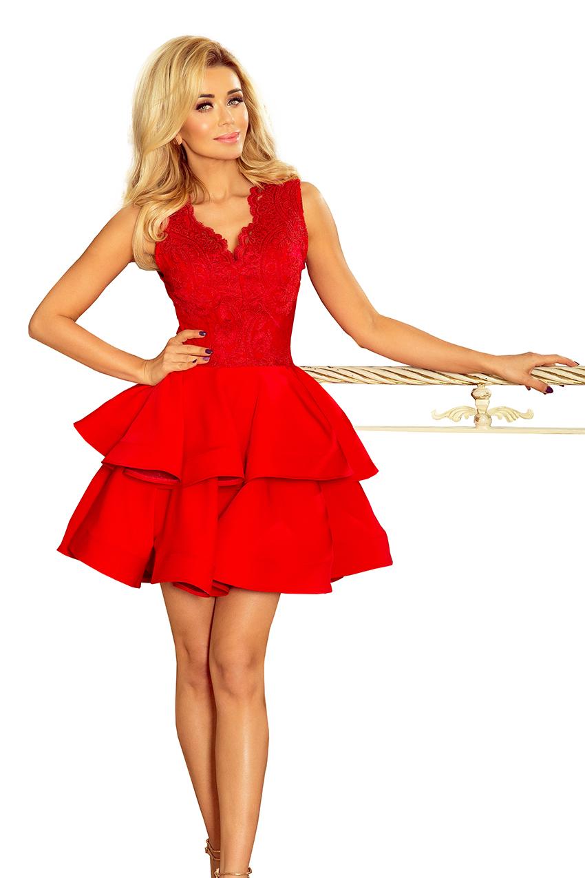 Bardzo dobra Charlotte Ekskluzywna Sukienka Koronkowy Dekolt Czerwona, Odzież XV74