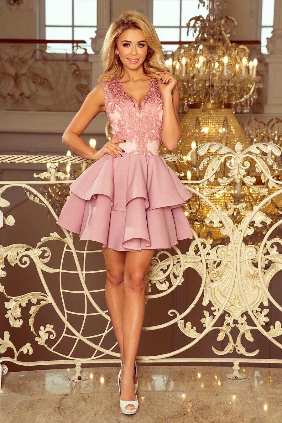 2264a7da49 200-5 CHARLOTTE - ekskluzywna sukienka z koronkowym dekoltem - PUDROWY RÓŻ