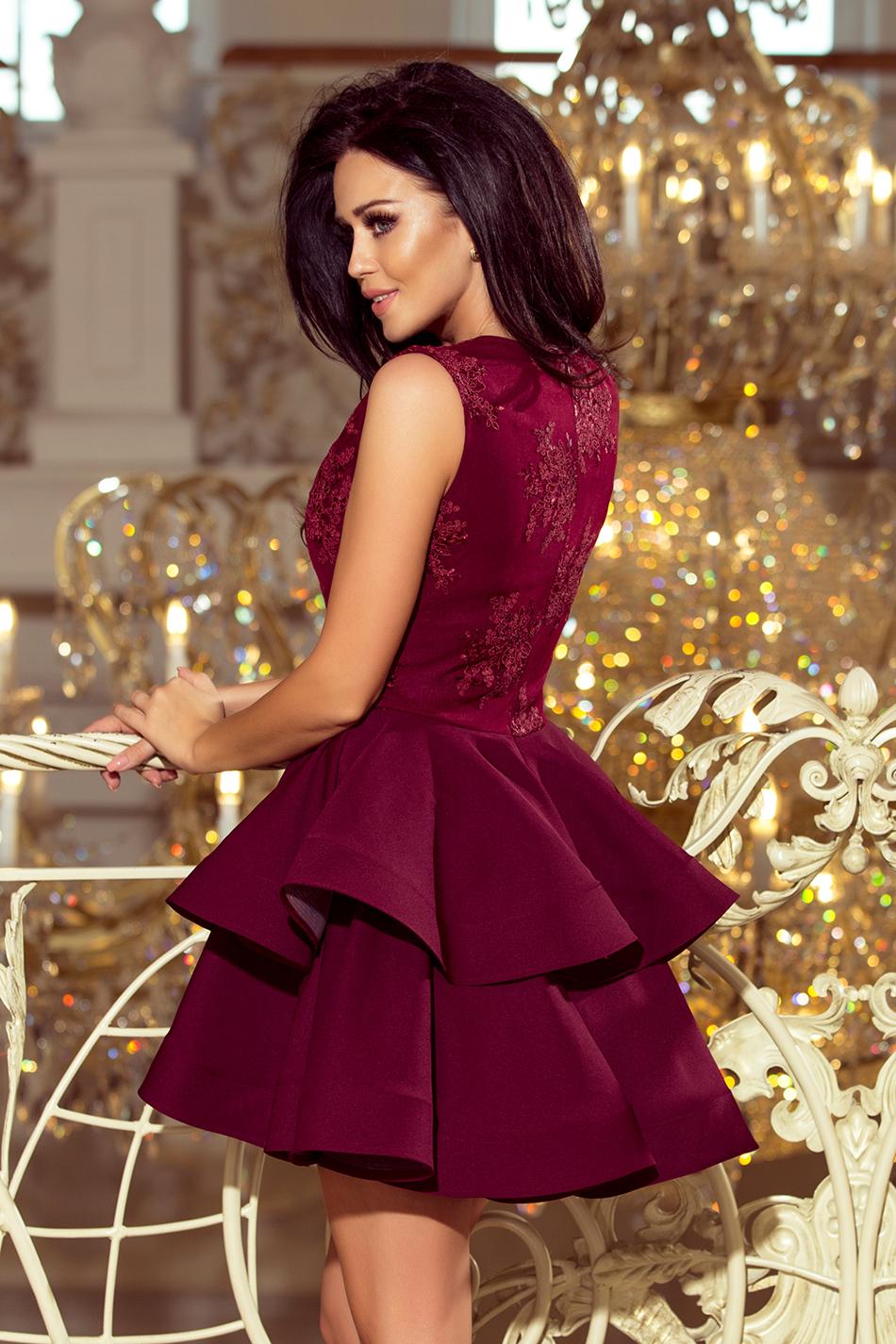 4c4205b3e5 200-8 CHARLOTTE - ekskluzywna sukienka z koronkowym dekoltem - BORDOWA