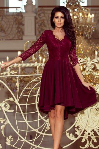 5efe43d4bf 210-1 NICOLLE - sukienka z dłuższym tyłem z koronkowym dekoltem - BORDOWA
