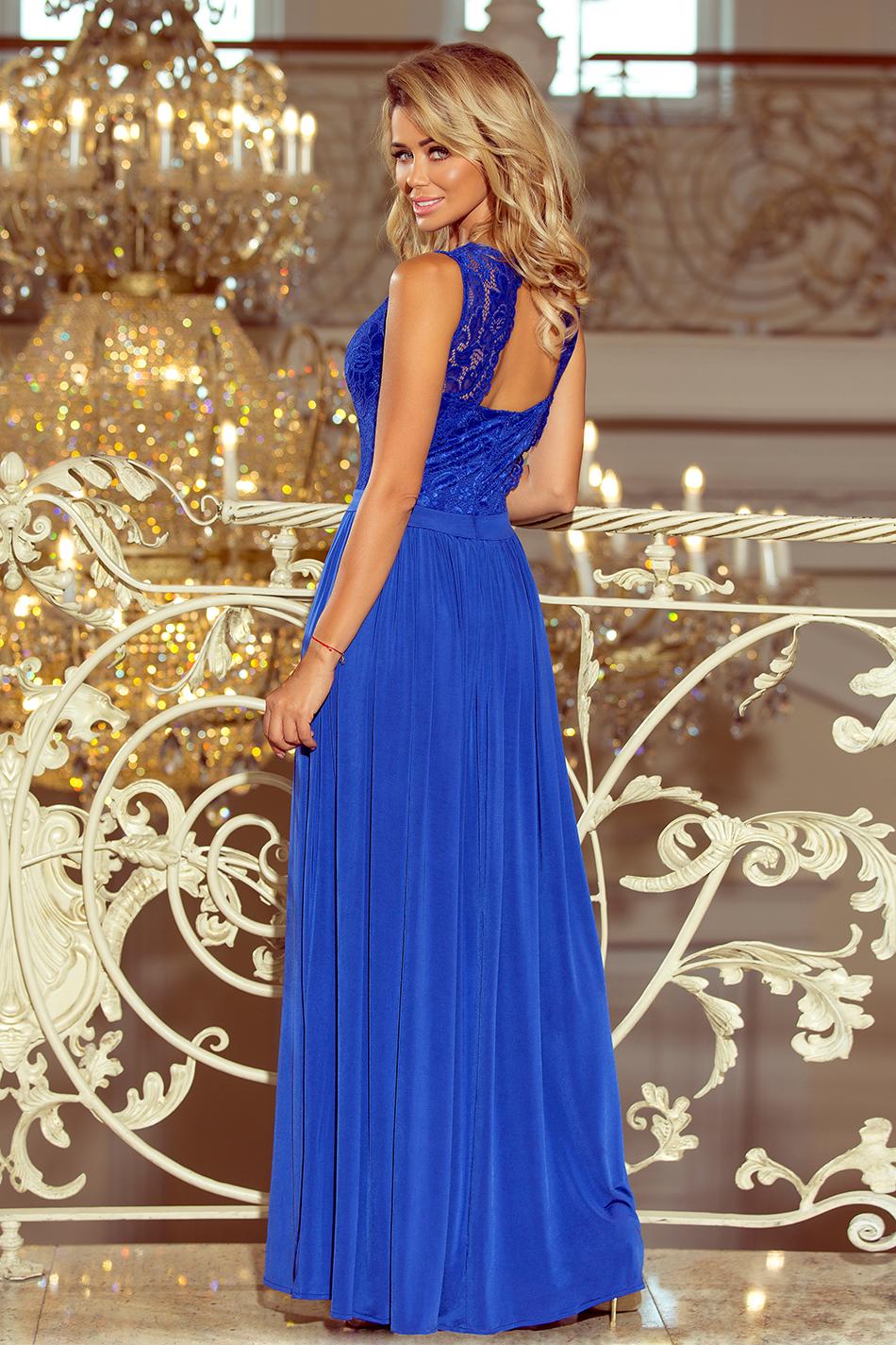 f48a0475c99 211-3 LEA długa suknia bez rękawków z koronkowym dekoltem - chaber ...
