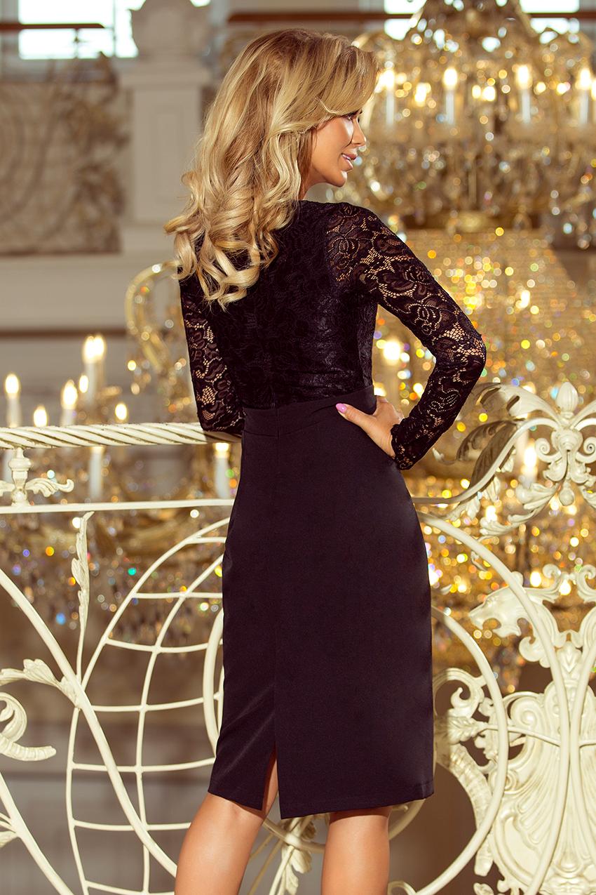 c042882f16 216-2 EMMA elegancka ołówkowa sukienka z koronką - CZARNA    numoco