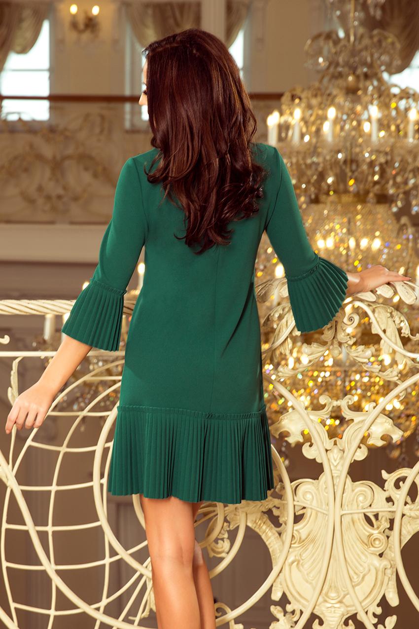 eee216b8d9 228-2 LUCY - plisowana wygodna sukienka - ZIELEŃ BUTELKOWA    numoco