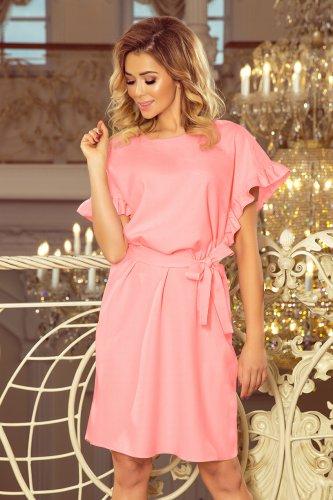 427bfb9365 229-1 ROSE Sukienka z wiązaniem i falbankami na rękawkach - PASTELOWY RÓŻ