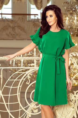 8fe6415ff86d5b 229-3 ROSE Sukienka z wiązaniem i falbankami na rękawkach - ZIELONA