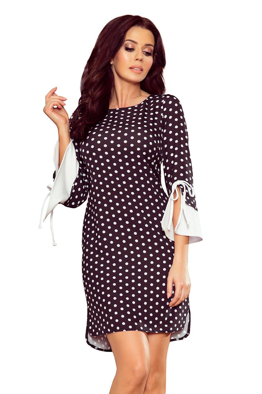 4be9d4d347 232-1 GRACE sukienka z białymi rękawkami - czarna w białe groszki ...