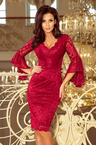 e428928acdf5e9 234-1 Koronkowa sukienka z rozkloszowanymi rękawkami - BORDOWA