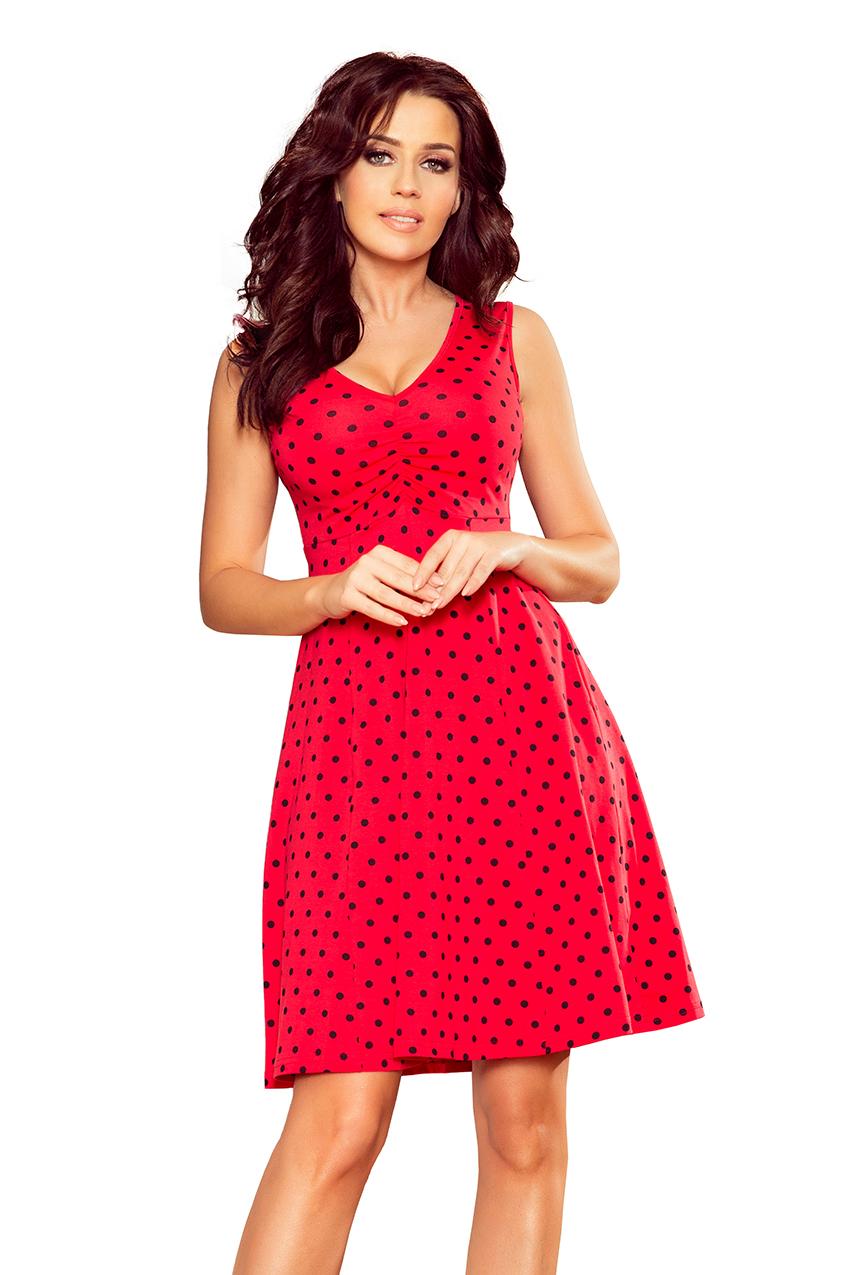 e05edf59d1 238-1 BETTY rozkloszowana sukienka z dekoltem - CZERWONA W GROSZKI ...