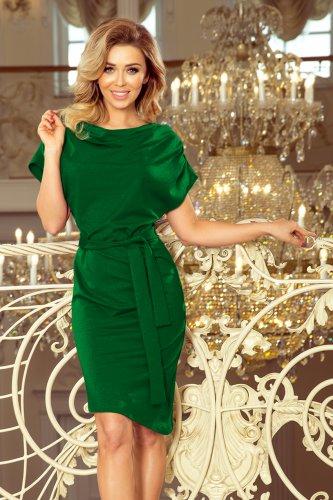 b8778acd2f4521 240-1 ROXI sukienka z asymetryczną spódnicą i paskiem - ZIELONA