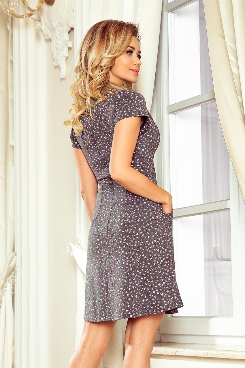 348288fd48 252-1 LILY Sukienka z krótkim rękawkiem - grafit + fioletowe motylki ...
