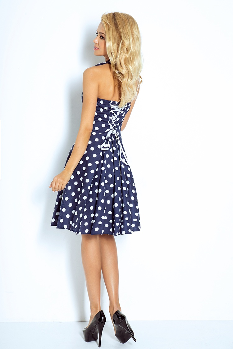 53dde66bc3 30-13 Rockabilly pin up sukienka - GRANATOWA w białe kropki - Z GUZIKAMI