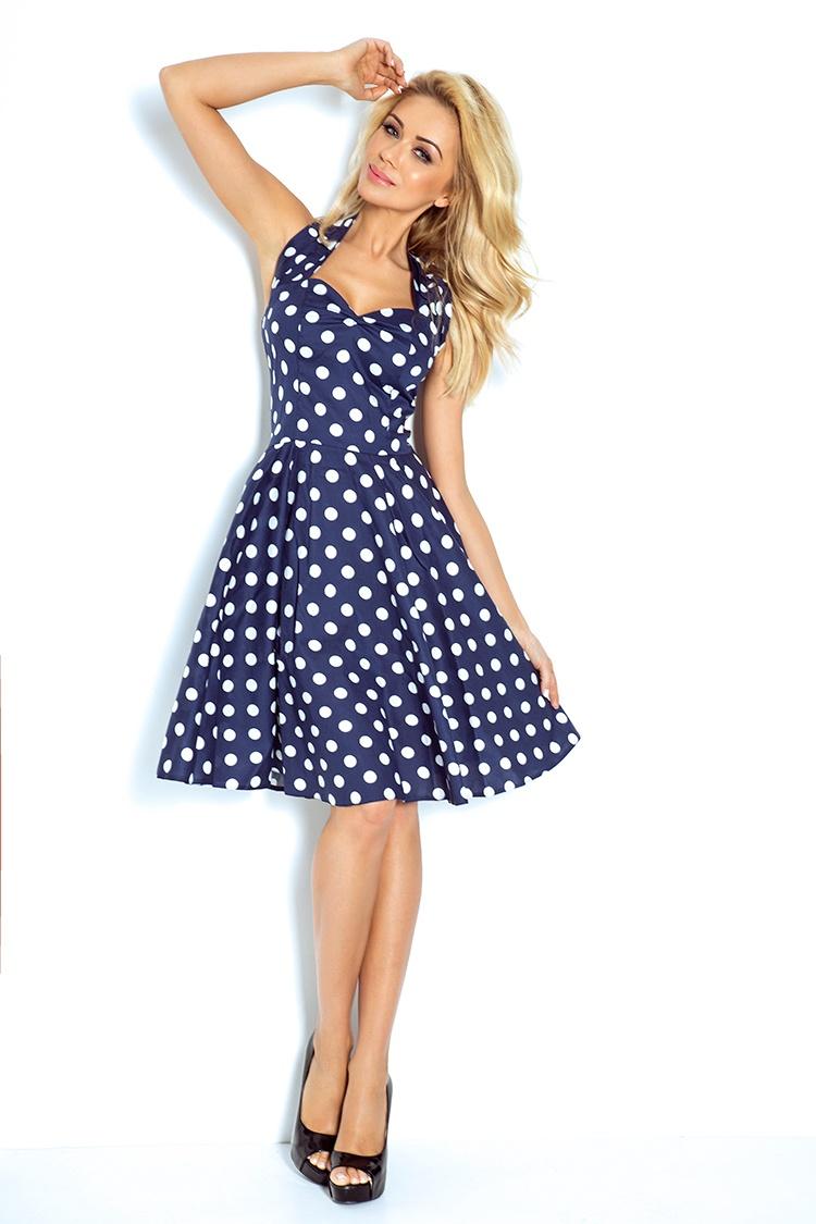 74f2d227fe 30-13 Rockabilly pin up sukienka - GRANATOWA w białe kropki - Z GUZIKAMI
