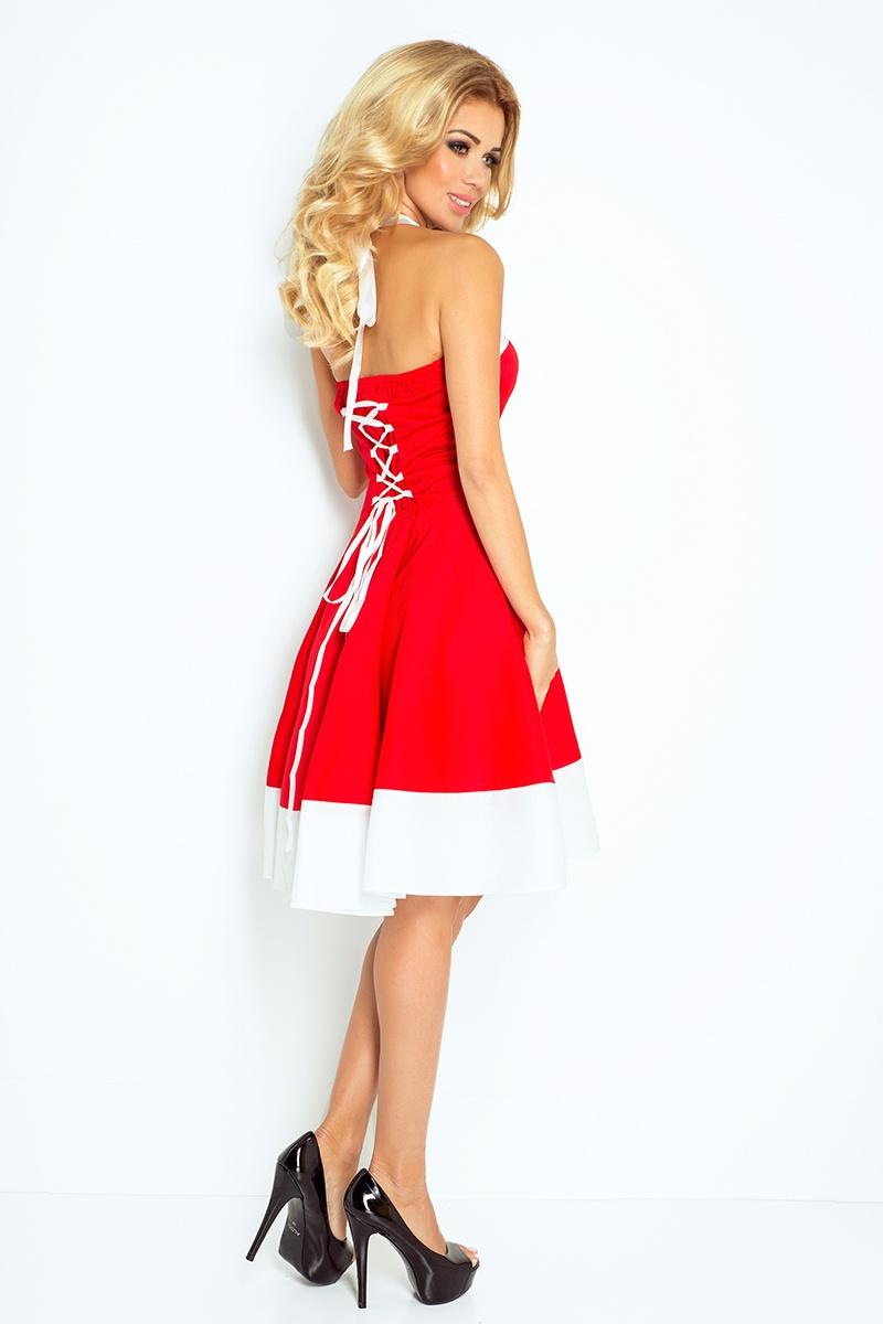 30 17 rockabilly pin up sukienka czerwona z bia ym pasem. Black Bedroom Furniture Sets. Home Design Ideas