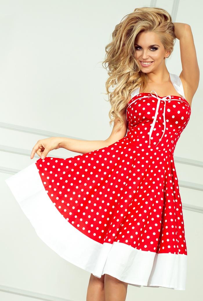 30-8 Rockabilly pin up šaty - červená s bielymi bodkami