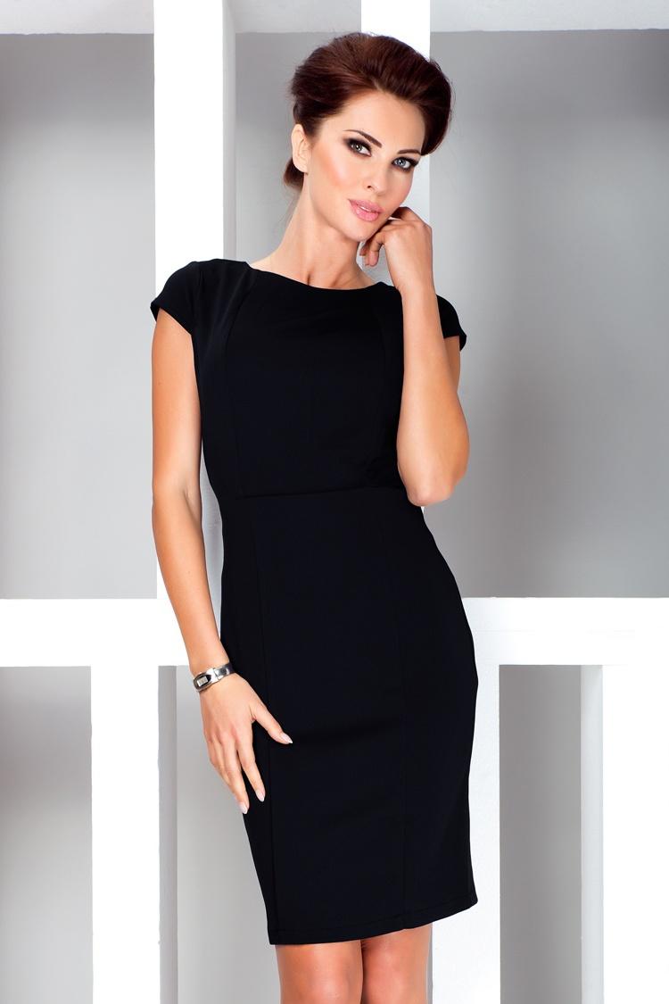 37-3 Elegantné šaty s krátkym rukávom - čierna