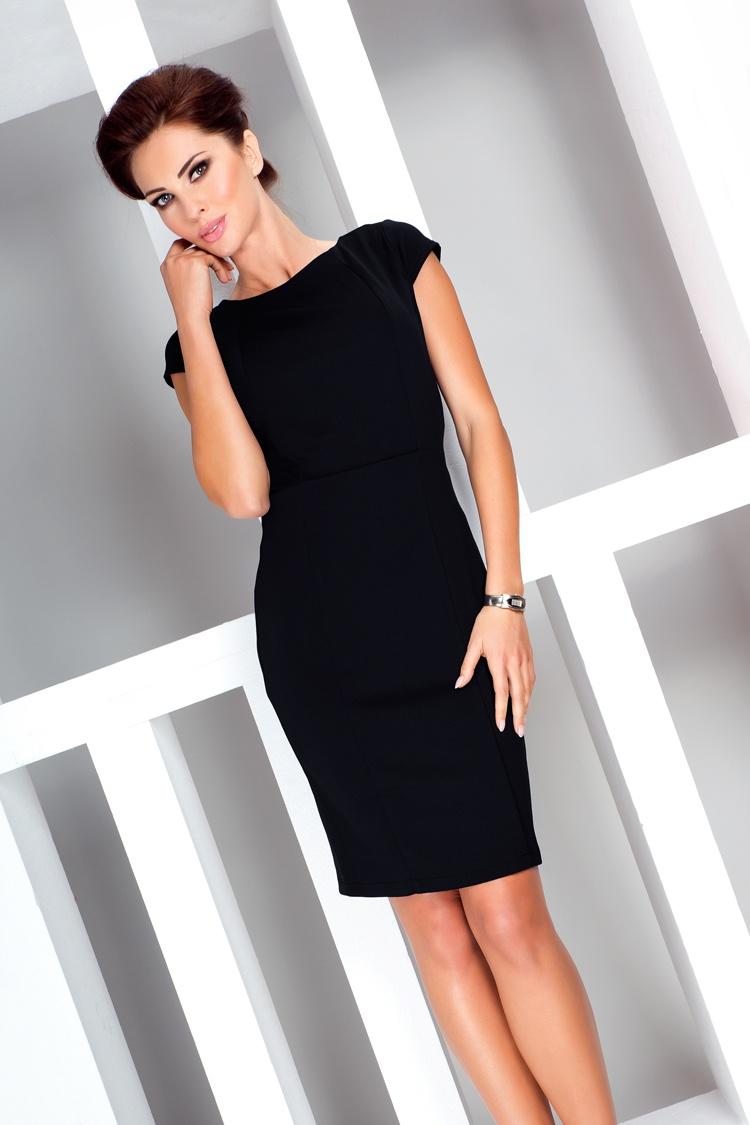 37-3 Elegantné šaty s krátkym rukávom - čierna 7018a34cd93