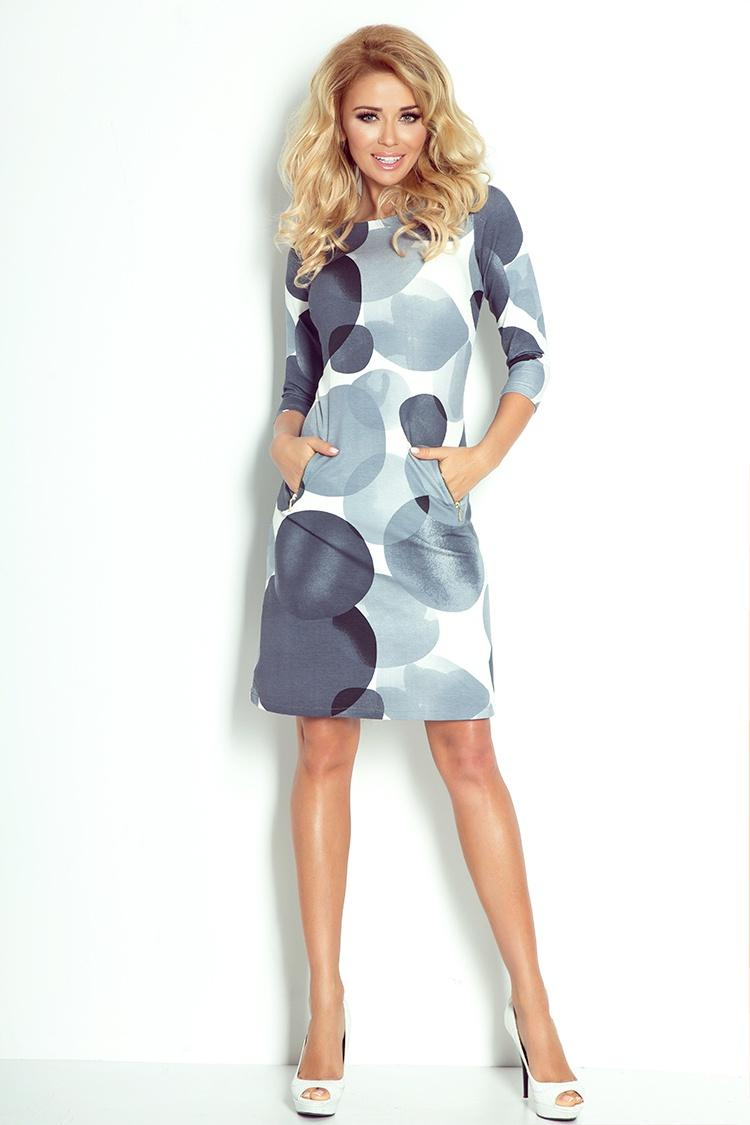 38-12 šaty so zipsami - veľké sivé kruhy