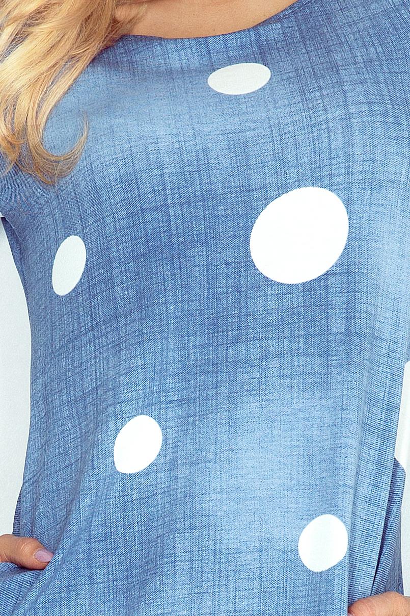 40-11 Jola šaty s vreckami - JEANS - WHITE KOLA