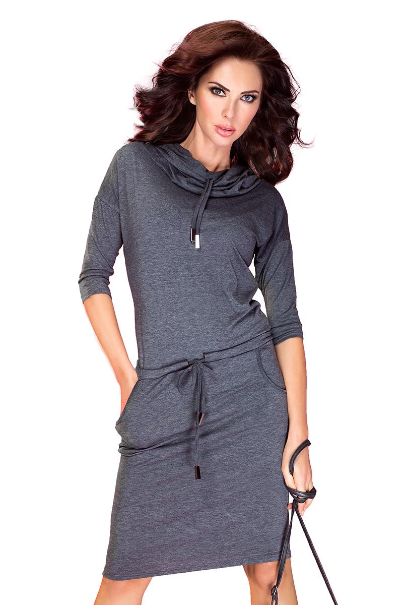 cd092c6fc1 44-1 Sukienka sportowa z golfem - Szary Grafit    numoco